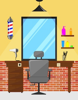 Sala interior de barbearia