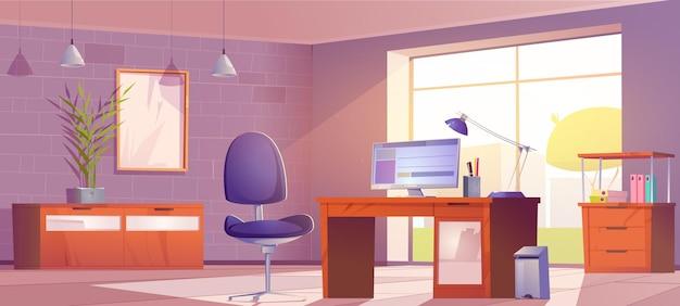 Sala interior de home office para trabalhar com pc