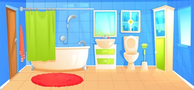 Sala interior do projeto do banheiro com molde cerâmico do fundo da mobília.