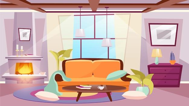 Sala interior ilustração plana. mesa de centro perto de sofá clássico. quarto desarrumado iluminado pelo sol com almofadas no chão. lareira elegante com queima de lenha e velas. janela panorâmica na moda