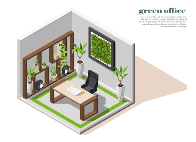 Sala isolada de composição colorida isométrica de escritório verde com equipamento de ecologia de plantas verdes