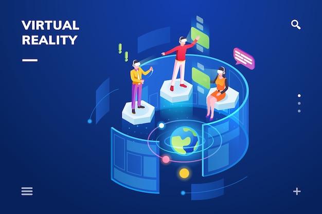 Sala isométrica com pessoas usando realidade virtual ou dispositivo de tecnologia imersiva.