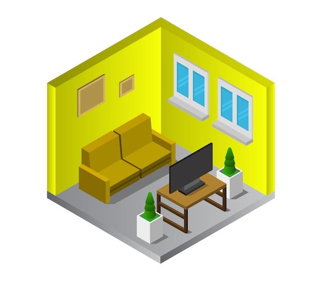 Sala isométrica com televisão