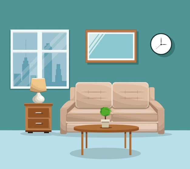 Sala mesa sofá mesa potplant relógio lâmpada janela mirrow