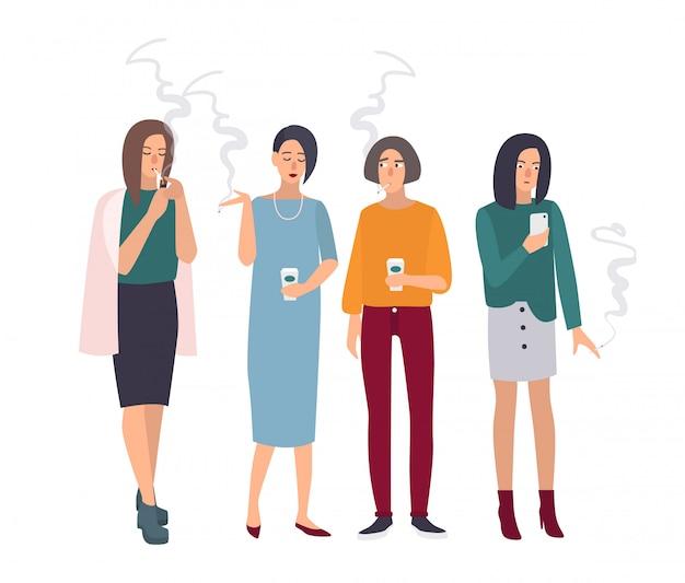 Sala para fumantes. meninas no intervalo para fumar. mulher com cigarros. ilustração em estilo simples.