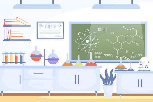 Sala plana de laboratório com estrutura química Vetor grátis