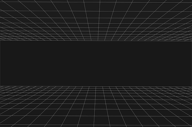 Sala preta da perspectiva da grade. andar e teto. fundo de wireframe cinza. modelo de tecnologia digital cyber box. modelo de arquitetura abstrata de vetor
