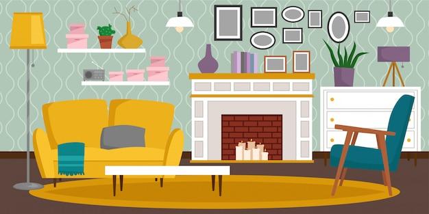 Sala rica rica da casa da mobília interior do vintage do vip com ilustração ajustada do fundo da parede de tijolo do sofá.