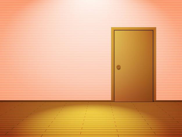 Sala rosa iluminada com porta