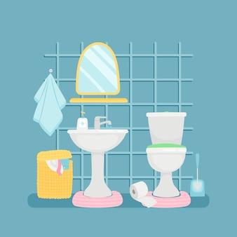 Sala sanitária com pia, vaso sanitário, ilustração de toalhas