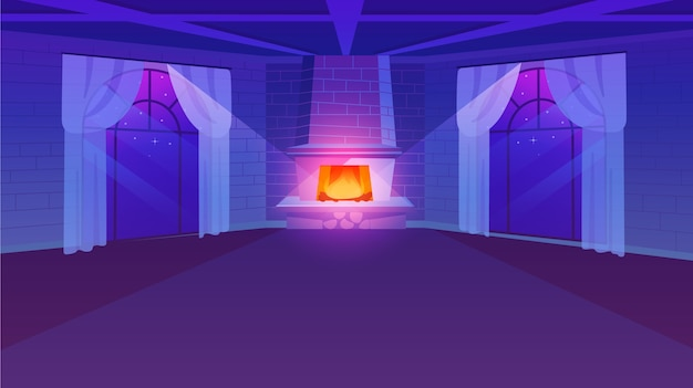 Sala vazia com ilustração plana de lareira. janelas panorâmicas de estilo retro com cortinas leves. paredes de tijolo estilizadas. projeto imobiliário de luxo em tons de violeta. vista noturna do apartamento