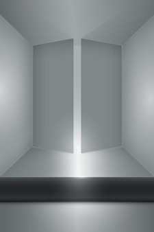 Sala vazia com portas abertas e quadro escuro no chão