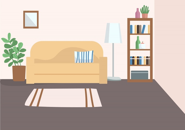Sala vazia ilustração plana cor Vetor Premium
