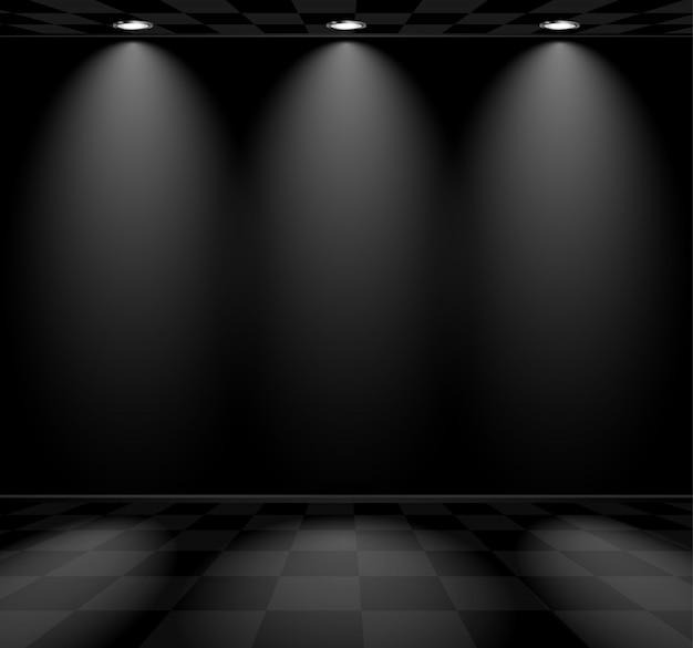 Sala vazia preta com piso quadriculado
