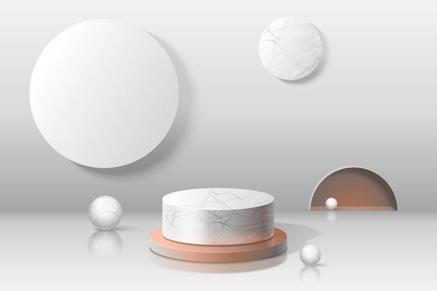 Sala vazia realista com pódio de mármore