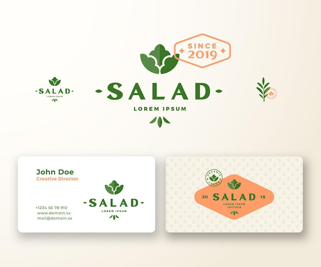 Salada boutique logotipo abstrato e modelo de cartão.