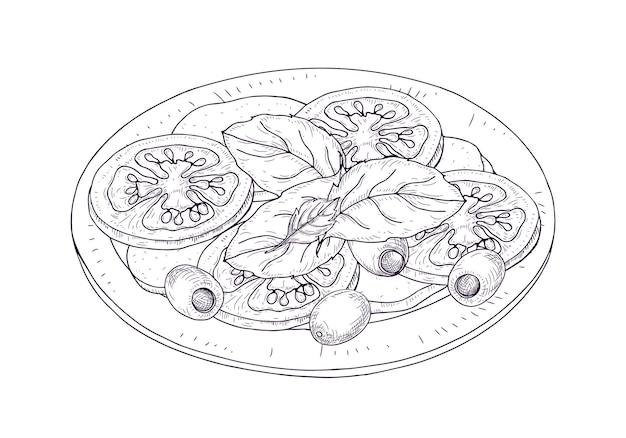 Salada caprese no prato desenhado à mão com linhas de contorno no fundo branco. refeição saborosa de restaurante italiano saudável feita de tomates frescos, mussarela, manjericão, azeitonas. ilustração vetorial realista.