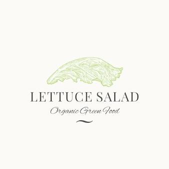 Salada de alface sinal, símbolo ou logotipo de vetor abstrato