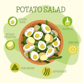 Salada de batata alimentos orgânicos saudáveis Vetor grátis