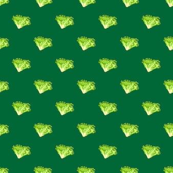 Salada de batávia de padrão sem emenda em fundo verde-azulado. ornamento minimalista com alface. modelo de planta geométrica para tecido. ilustração em vetor design.