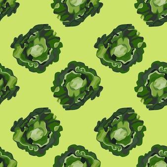 Salada de butterhead padrão sem emenda em fundo verde pastel. ornamento moderno com alface.