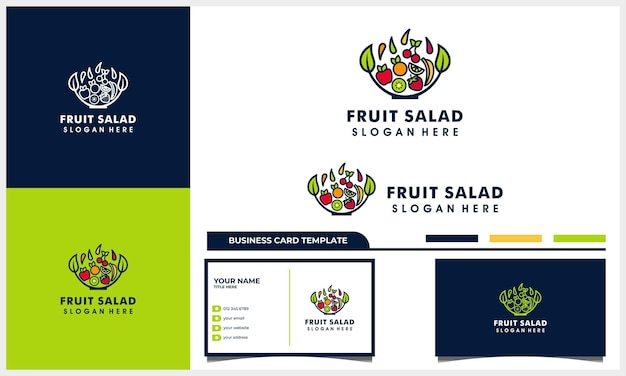 Salada de frutas com conceito de design de logotipo de estilo de arte de linha de tigela e modelo de cartão de visita