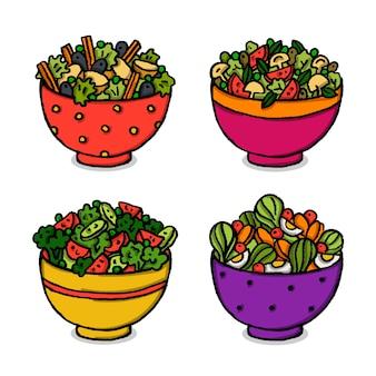 Salada de frutas frescas em tigelas fofas
