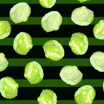 Salada de iceberg de padrão sem emenda em fundo de listras. enfeite com alface. modelo de planta aleatória para tecido. ilustração em vetor design.