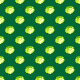 Salada de iceberg de padrão sem emenda em fundo verde-azulado. ornamento do minimalismo com alface.