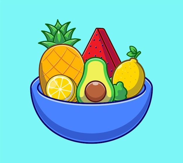 Salada de legumes e frutas na tigela dos desenhos animados. conceito do dia mundial da comida plano