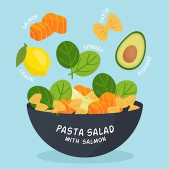 Salada de macarrão saudável com receita de salmão