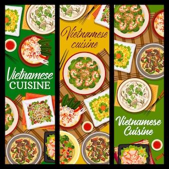 Salada de manga de vetor de cozinha vietnamita, sopa de cogumelo shiitake pho e salada de cordeiro de vegetais. sopa de macarrão de carne pho bo, salada de espinafre e guisado de berinjela com sopa de camarão comida pho de estandartes do vietnã