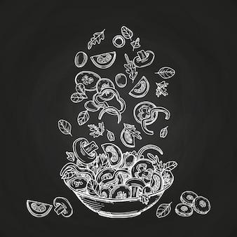 Salada de mão desenhada isolada no fundo do quadro-negro