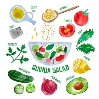 Salada de quanda saudável ilustrada