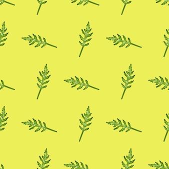 Salada de rúcula de grupo padrão sem emenda em fundo amarelo. ornamento minimalista com alface.
