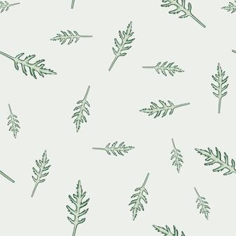 Salada de rúcula de grupo padrão sem emenda em fundo bege. ornamento minimalista com alface. modelo de planta aleatória para tecido. ilustração em vetor design.
