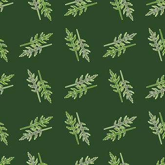 Salada de rúcula de grupo padrão sem emenda em fundo verde escuro. ornamento moderno com alface.