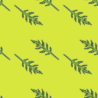 Salada de rúcula de grupo padrão sem emenda sobre fundo verde brilhante. ornamento simples com alface.