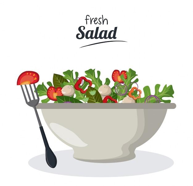 Salada de salada fresca com hortelã de menu de vegetais