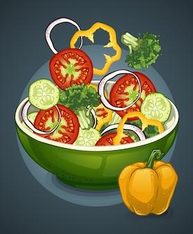 Salada de vegetais com desenho colorido