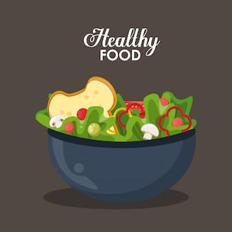 Salada deliciosa e calorosa com pão