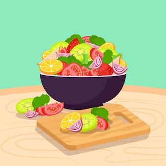 Salada deliciosa e tigela de frutas ilustradas