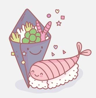 Salada e sushi menu japonês restaurante alimentos