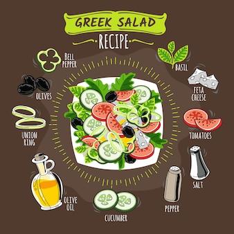 Salada grega de receita de mão desenhada