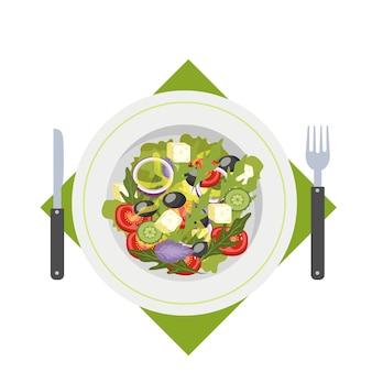 Salada grega em um prato. alimentos orgânicos e saudáveis. pepino e tomate, queijo feta e pimenta. ilustração