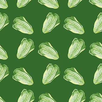 Salada romano sem costura padrão sobre fundo verde. ornamento abstrato com alface.