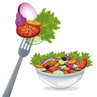 Salada vegetais alimentos orgânicos frescos