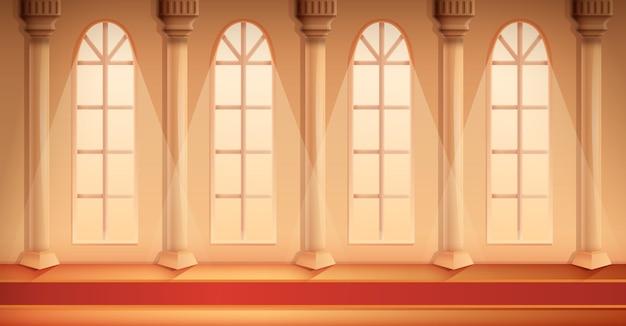 Salão bonito dos desenhos animados de um castelo com um tapete, ilustração vetorial