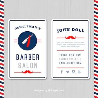 Salão de barbeiro cartões bigode vermelho