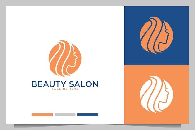 Salão de beleza com design de logotipo de cabeça de mulheres de beleza